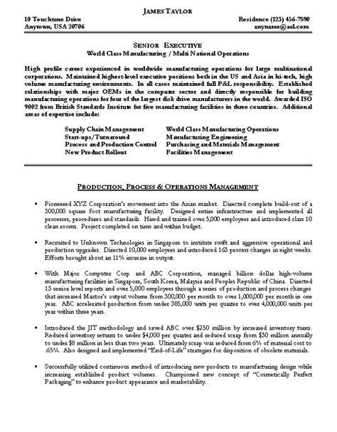 Free Sle Resume Operations Manager Executive Resume Sles Professional Resume 28 Images