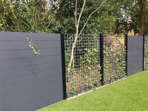tuin hek metaal 30 cm hoog de top wall composiet schutting antraciet klimop