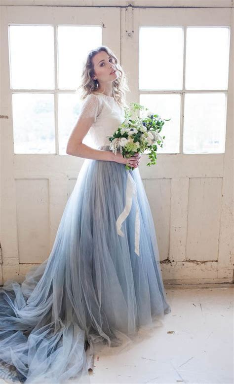 Blue Wedding Dress by 2017 Chic Serenity Blue And White Wedding Dress A Line