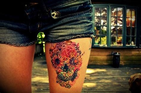 front thigh tattoos colorful sugar skull on front thigh so