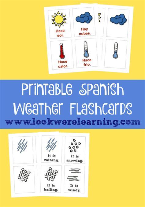 spanish english flashcards printable printable spanish flashcards spanish weather flashcards