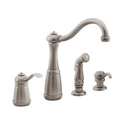 pewter kitchen faucet t26 4nee t26 4nee rustic pewter 4 kitchen faucet with spray and soap dispenser