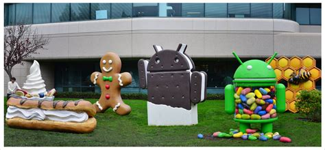 android statues visiting the googleplex in mountain view