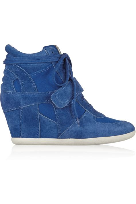 ash bowie suede and canvas wedge sneakers in blue bright