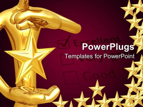 Powerpoint Template A Person Holding The Star With Purple Background 11341 Powerpoint Award Template