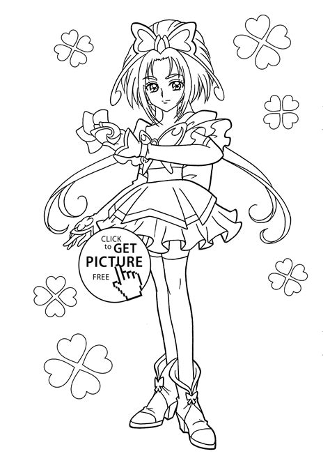 pretty cure characters anime coloring pages for kids printable free beauty girl from pretty cure coloring pages for kids
