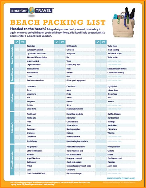Vacation Packing List Printable