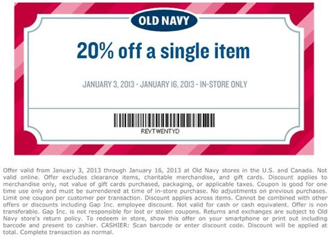 old navy coupons passbook 20 off a single item at old navy coupon via the coupons