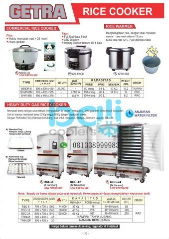 Rice Cooker Getra food cooking equipment bali coolers gea getra rsa