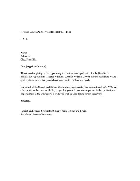 Regrets Letter For Applicants best photos of sle regret letter for rfp business