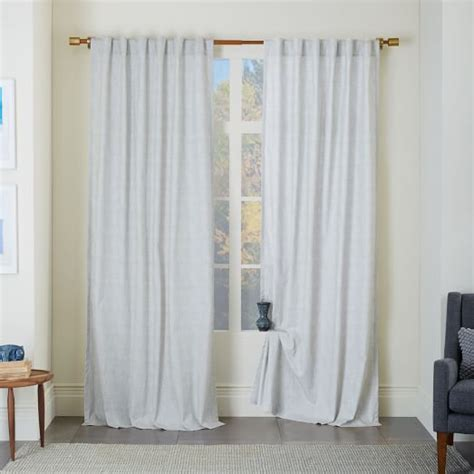 cotton canvas curtains cotton canvas chambray print curtain platinum west elm