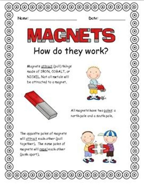 kindergarten activities magnets magnets ccss ngss aligned posters experiments