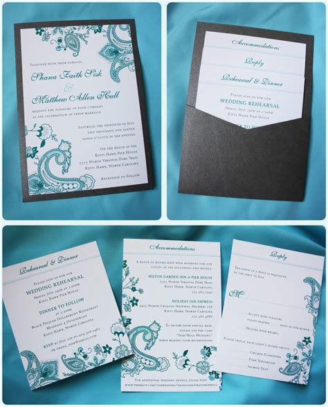 turquoise and wedding invitations turquoise paisley floral clutch pocket wedding invitation