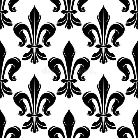 black and white french pattern black and white fleur de lis royal pattern stock vector