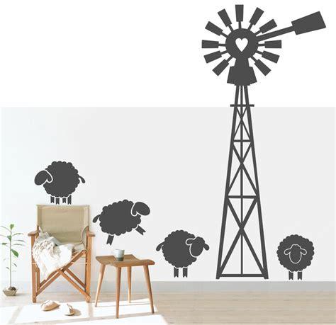 Bathroom Wall Sticker sku code ws97 karoo windpomp with sheep windpomp
