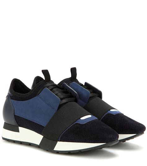lyst balenciaga race runner fabric leather and suede sneakers in blue