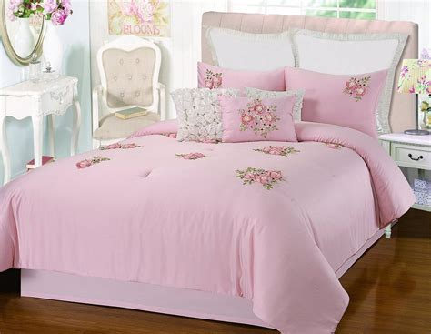 Pink Bed In A Bag by Rosetta Floral Bouquet Applique Pink 5 Comforter Bed In A Bag Set Ebay