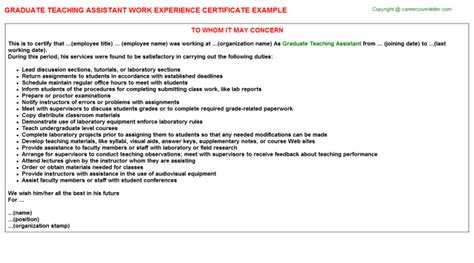 Work Experience Letter Teaching Assistant graduate teaching assistant work experience certificate