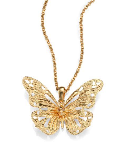mcqueen butterfly pendant necklace in metallic