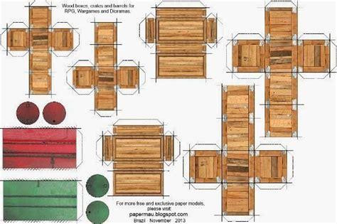 papermau wood boxes crates  barrels paper models