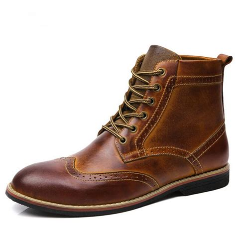 mens leather boots casual 2016 new winter genuine leather boots