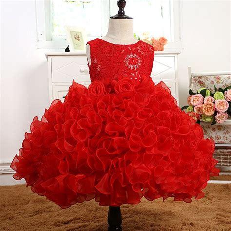 baby girl formal wear dress children kids prom red dresses  girls clothes flower girl