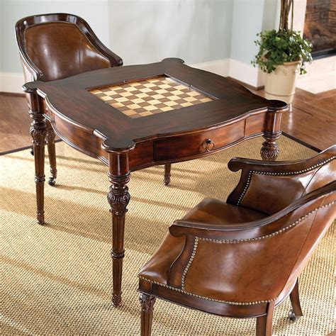 chess table with chairs freeman table and two leather chairs traditional