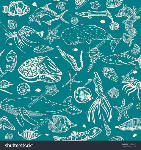 underwater pattern background vector wallpaper sea animal seashells fish stock vector