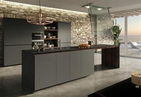 Formidable Meuble De Cuisine Gris Anthracite #1: d%C3%A9cor-cuisine-tr%C3%A8s-int%C3%A9ressant-meuble-et-%C3%AElot-de-cuisine-gris-anthracite-mur-en-pierre-spectaculaire-sol-gris-cuisine-contemporaine-tr%C3%A8s-chic-e1477297359958.jpg