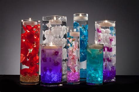 Rhinestone Vases Wholesale Floral Centerpieces With Led Lights And Floating Candles