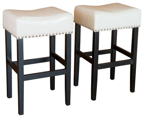 Counter Height Leather Bar Stools | chantal leather stools set of 2 ivory counter height