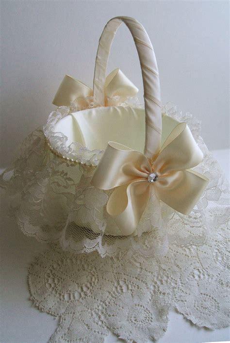 Handmade Flower Baskets - wedding flowergirl basket handmade nuance with lace skirt