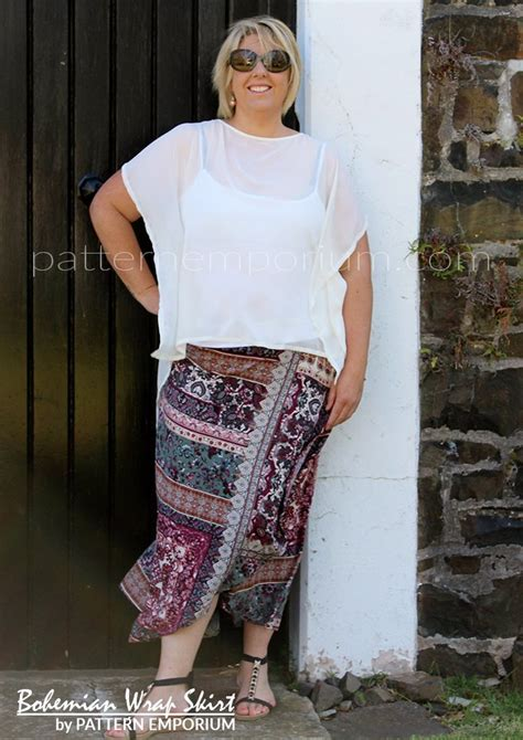 Pattern Emporium Wrap Skirt | bohemian wrap skirt ladies pdf sewing pattern pattern