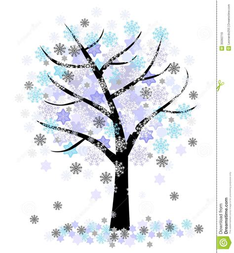 winter tree snowflakes stock vector winter tree with snowflakes stock vector illustration of image paintings 35060719