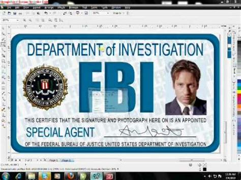 cia id card template maker fbi id card tutorial in corel drawx5 wmv