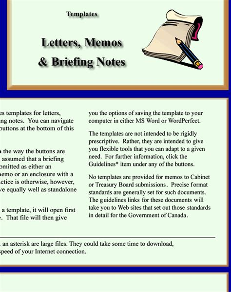 briefing memo template word processing templates for letters memos and briefing