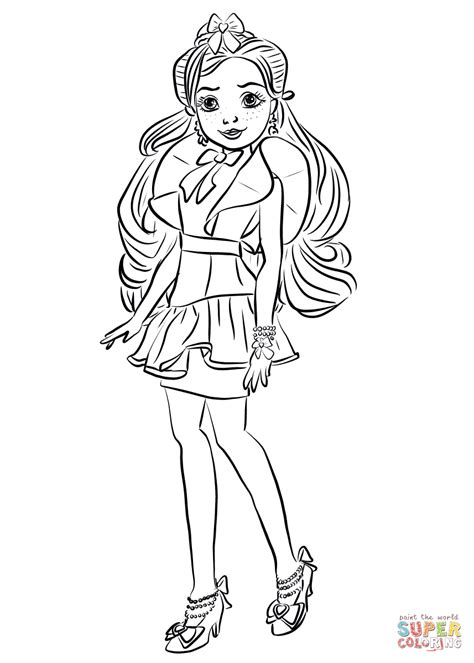 descendants coloring pages of evie jane from descendants wicked world coloring page free