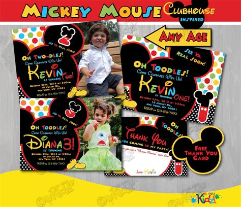 mickey mouse clubhouse birthday invitation mickey mouse