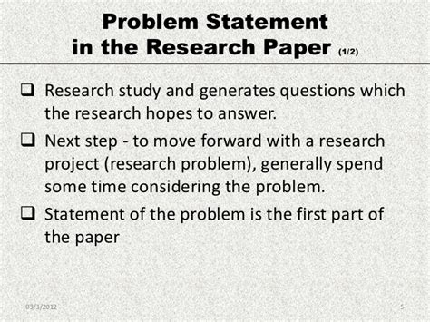 exle statement of the problem in research paper econ 7999 research methodology problem statement