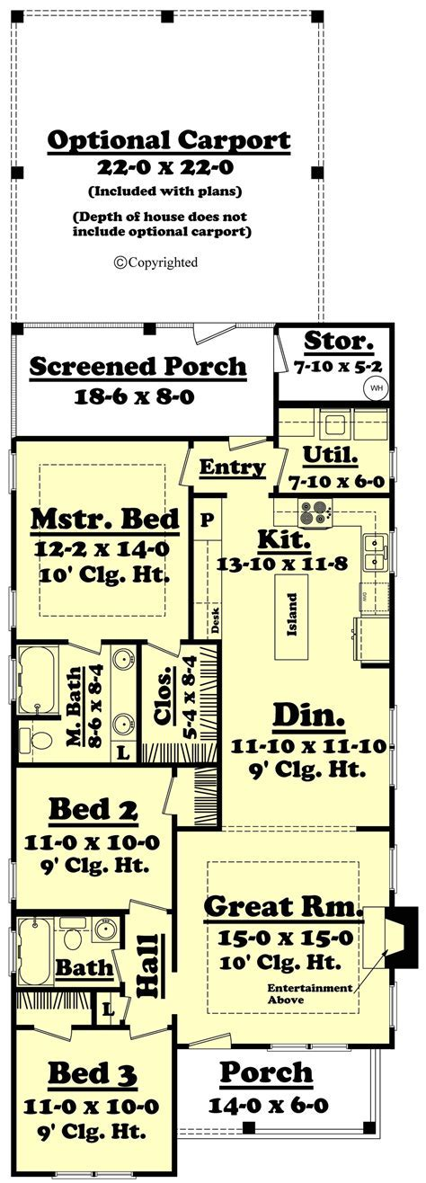Cottage Style House Plan   3 Beds 2 Baths 1300 Sq/Ft Plan