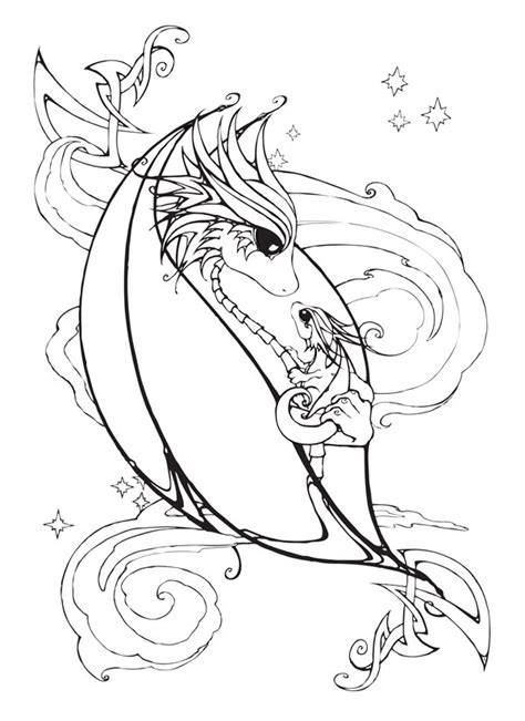coloring pictures of baby dragons mother and baby dragon coloring page