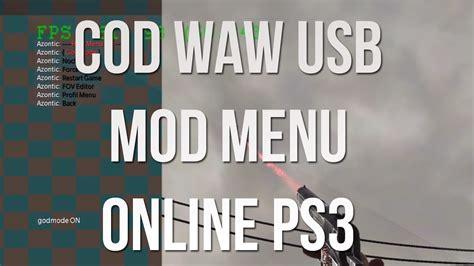 waw mod menu tutorial ps3 cod waw multiplayer mod menu usb online ps3