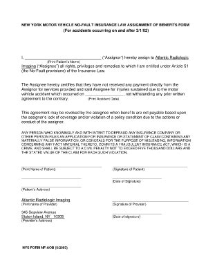 assignment of benefits form template blan aob fill printable fillable blank pdffiller