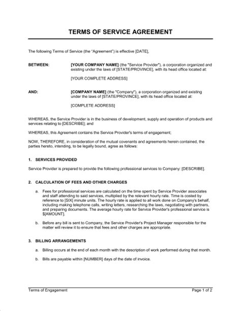 terms  service agreement template word   business   box
