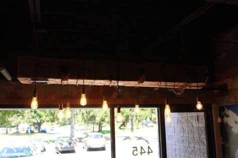 Wood Beam Light Fixture Barn Wood Beam Rustic Industrial Chandelier Id Lights