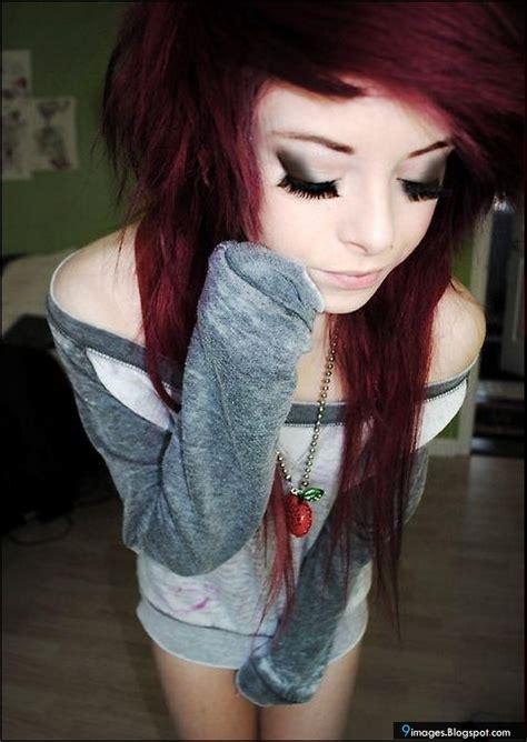 emo hairstyles burgundy emo girl cute close eyes