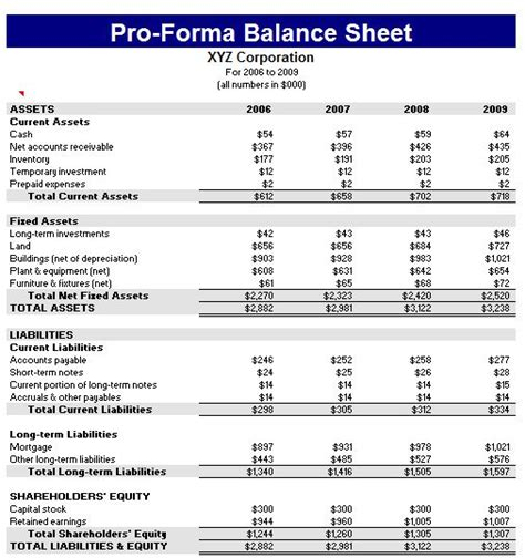 pro forma financial template proforma balance sheet template formal word templates