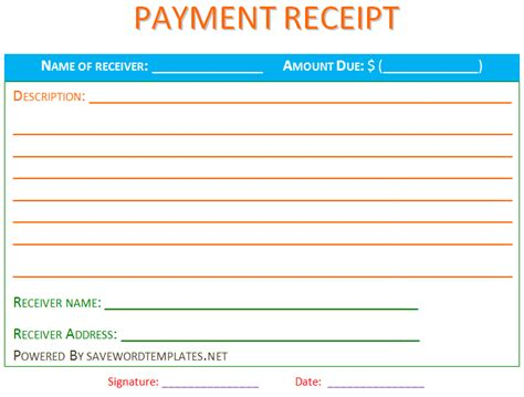 template for a receipt of payment best photos of payment receipt template word payment