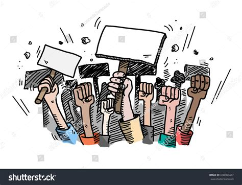 doodle create choice demonstration mass protest vector stock vector