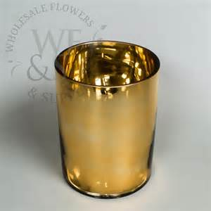 gold mirrored glass cylinder vase 8 quot x 6 quot diameter